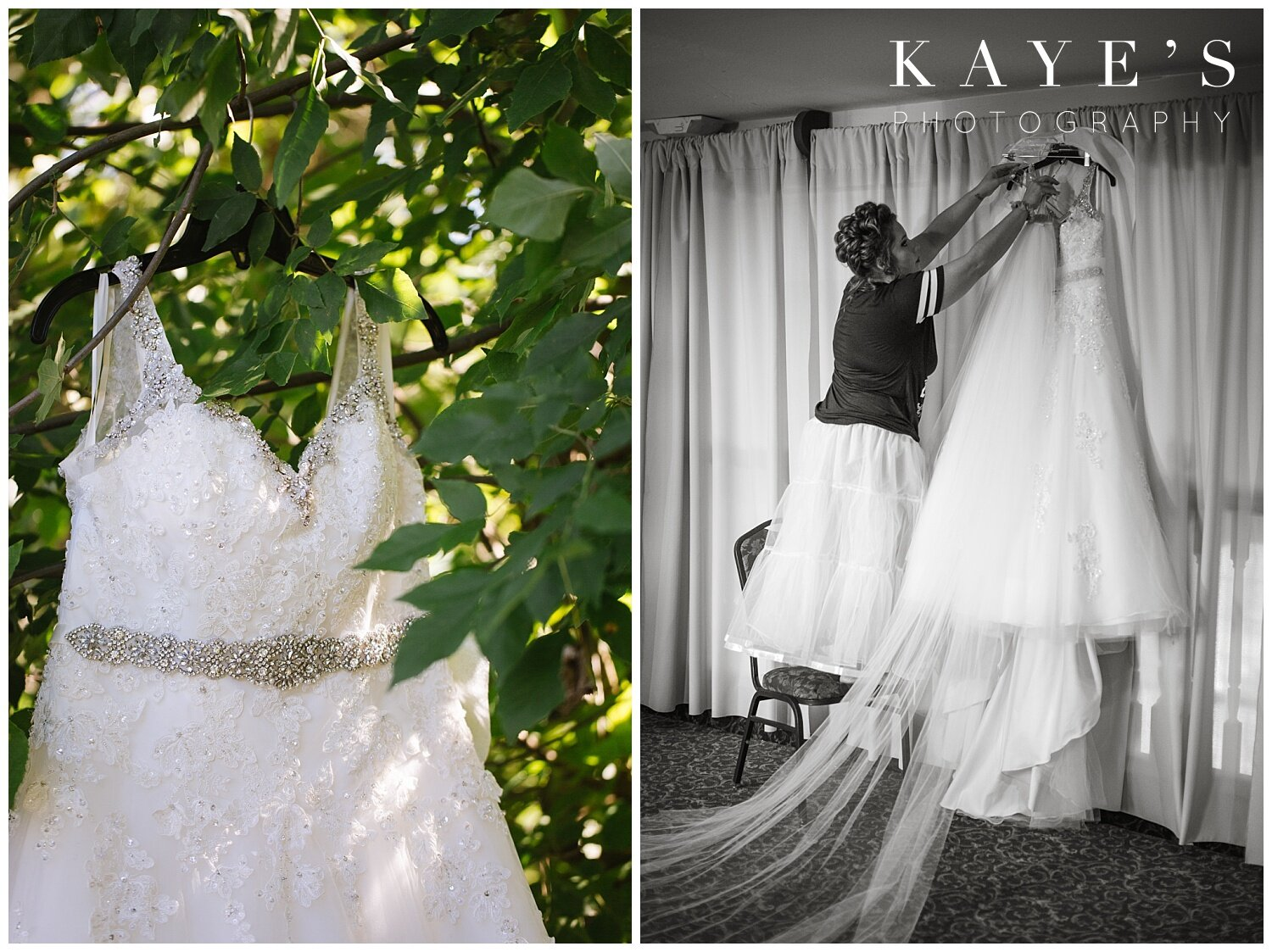 bride hanging up her dress at the captain's club in grand blanc michigan before wedding