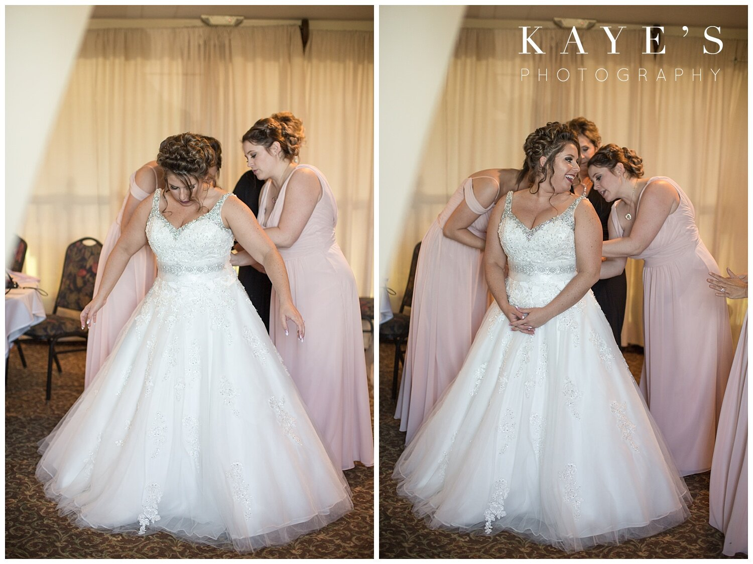 bride getting ready at captain's club bridal suite in grand blanc michigan