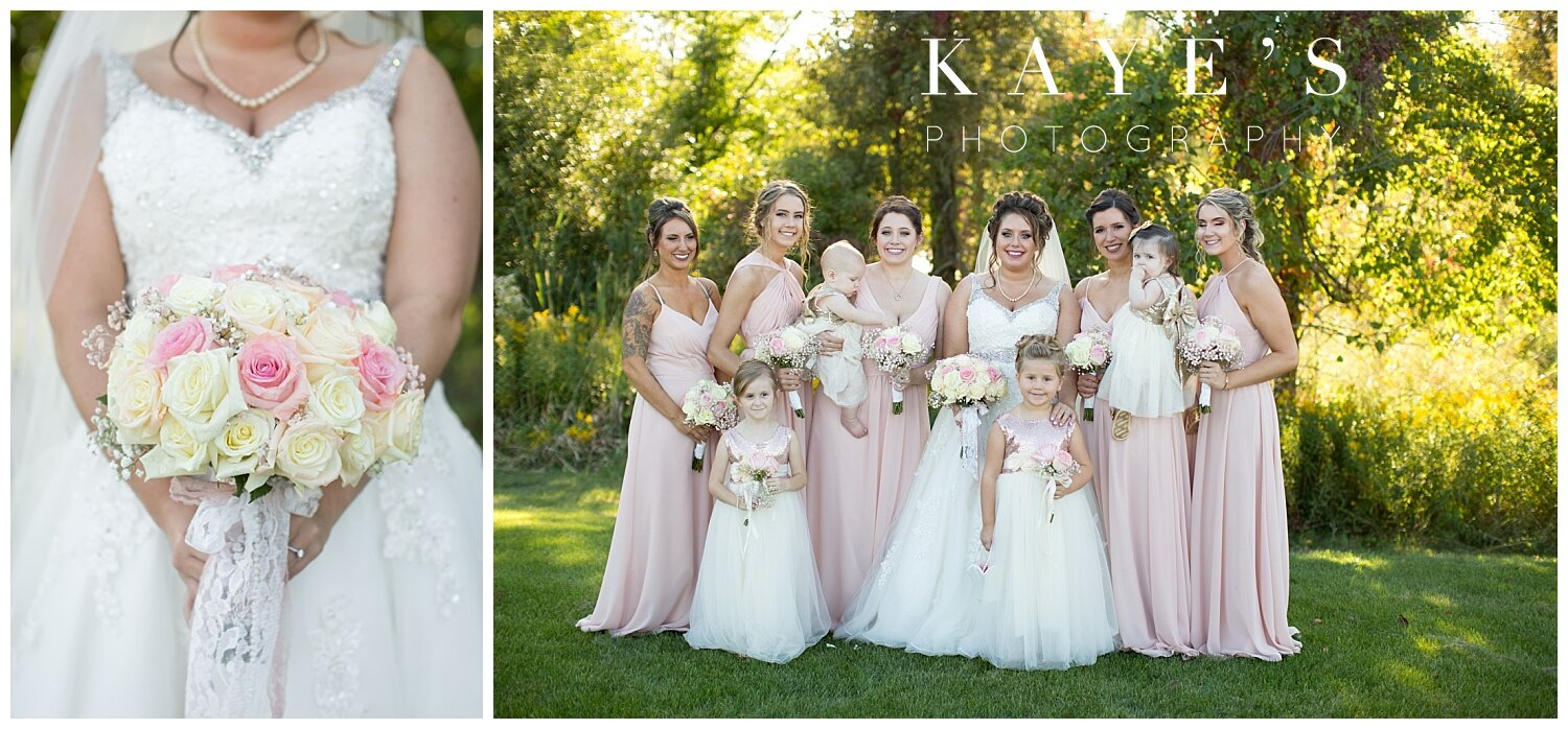 bride with bridesmaids before ceremony in grand blanc at the captain's club