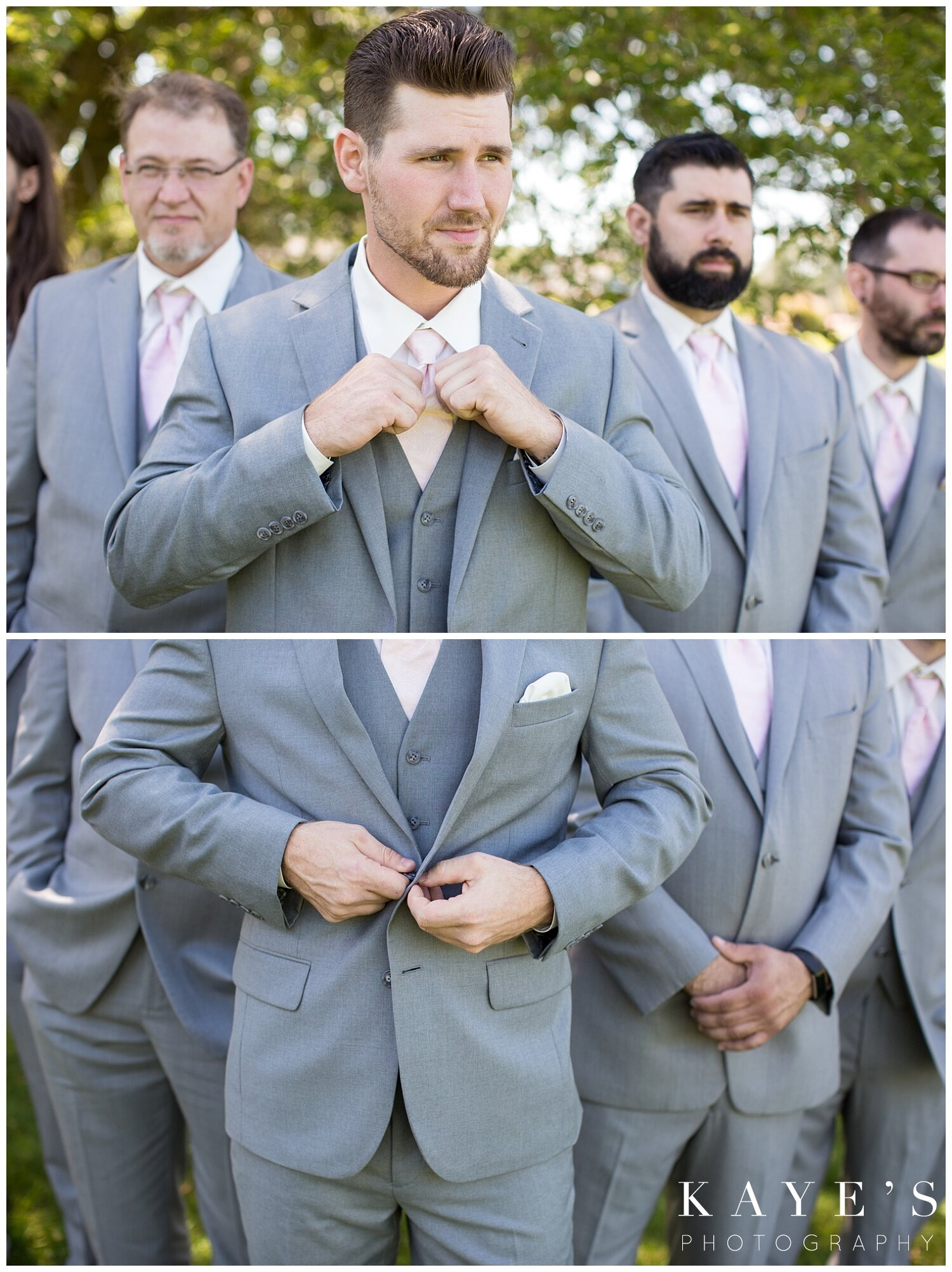 groom before wedding ceremony at the captain's club in grand blanc michigan