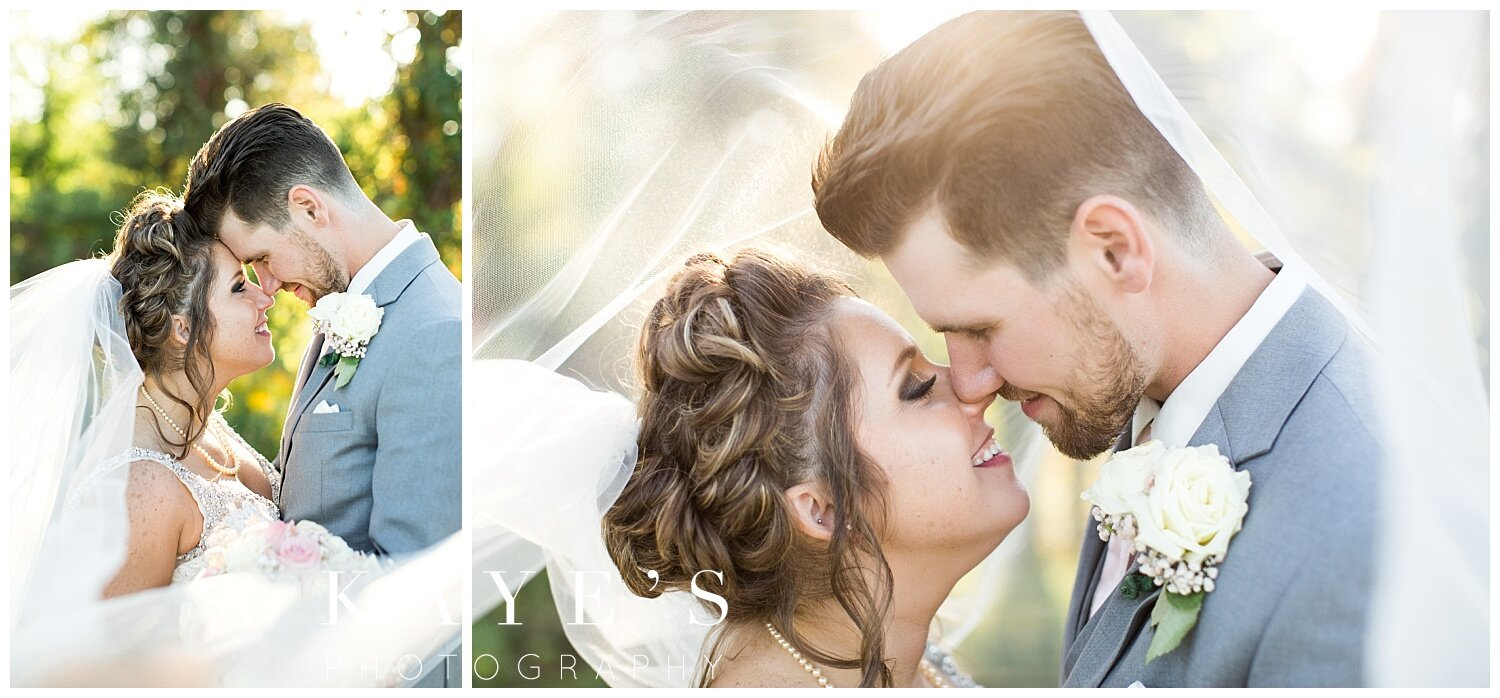 bride and groom portraits under veil after wedding in grand blanc michigan