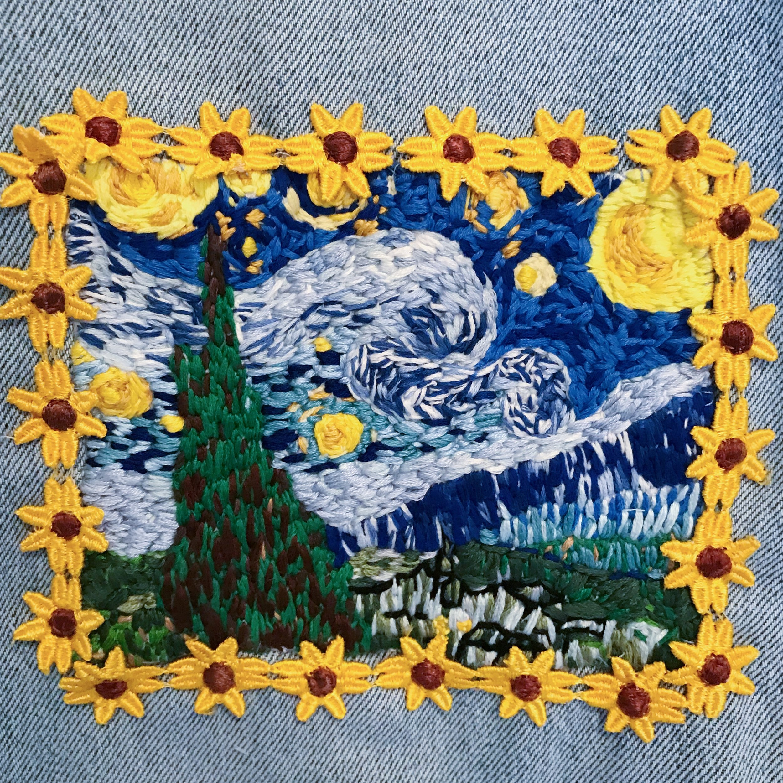 """Vincent van Gogh's """"The Starry Night"""" hand embroidered on denim pants"""