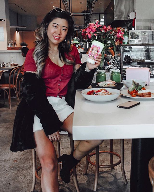 Just casually with a @shanchansen original illustrated coffee cup - girl is SO talented ✨ where would we be without coffee... this is literally my just woke up look but feeling cosy and looking out together with this full outfit from @dotti_squad ♥️ #dottisquad #breakfastinmelbourne #melbournecafes #handrawn