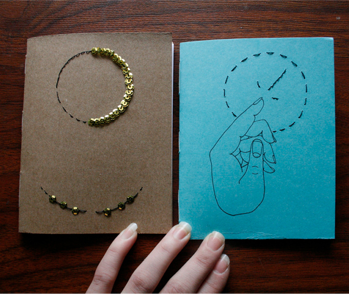 embroidered hand-bound notebooks