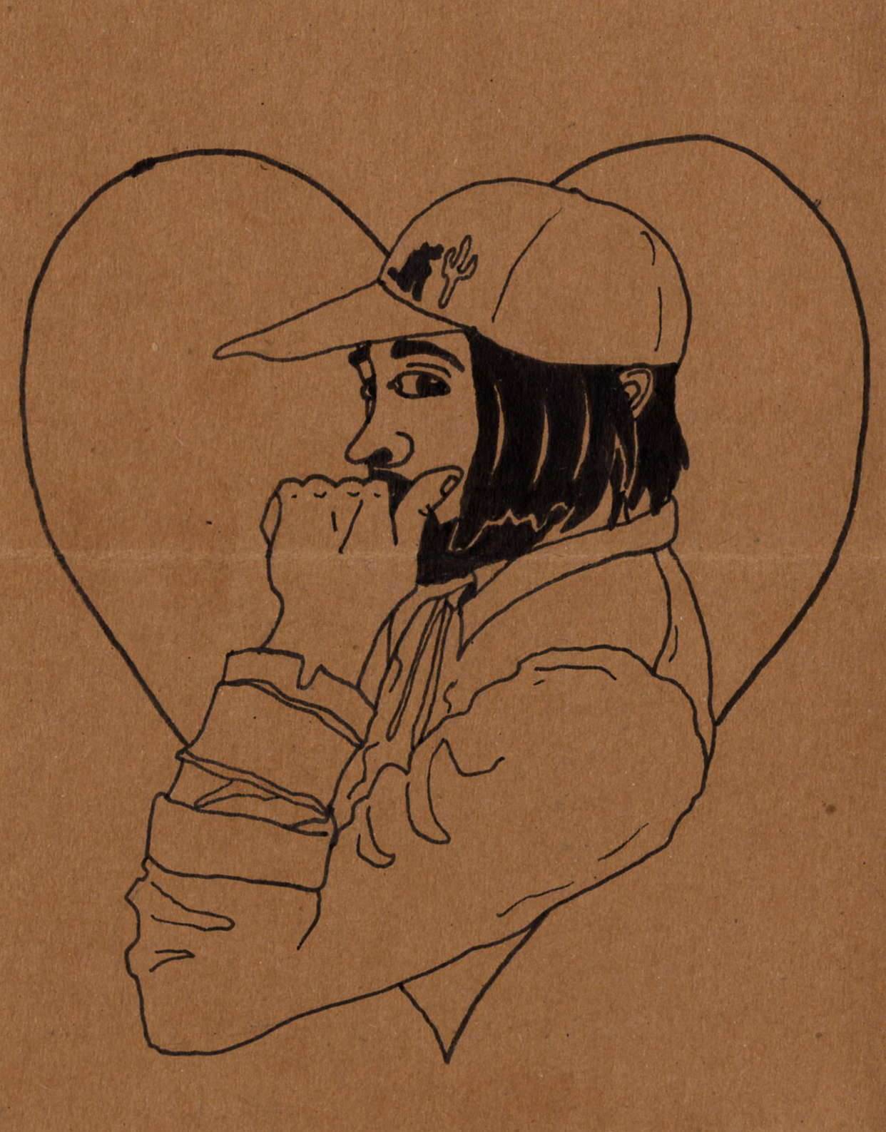 drawing of a friend on the back of a letter, 2019