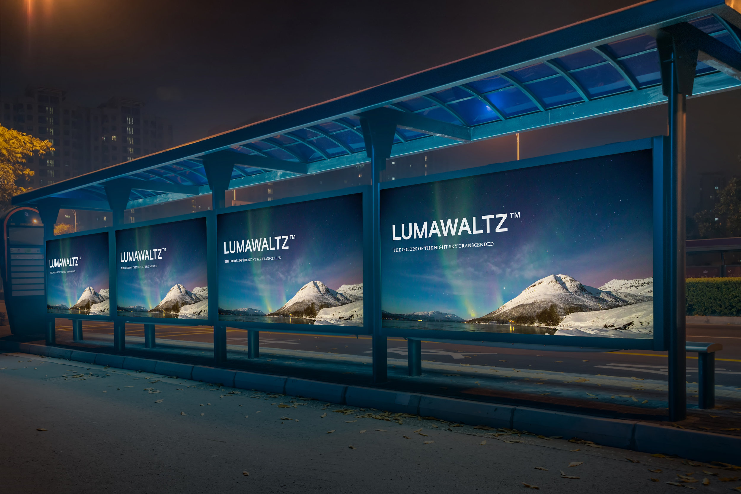 merchandising & advertisements - LUMAWALTZ™ would be sold in the Denali Northern Lights Gift Shop, located just inside the park. The product would have its own display, stacked into a triangle resembling Denali's peak. The product will be advertised in neighboring cities and airports near the park.