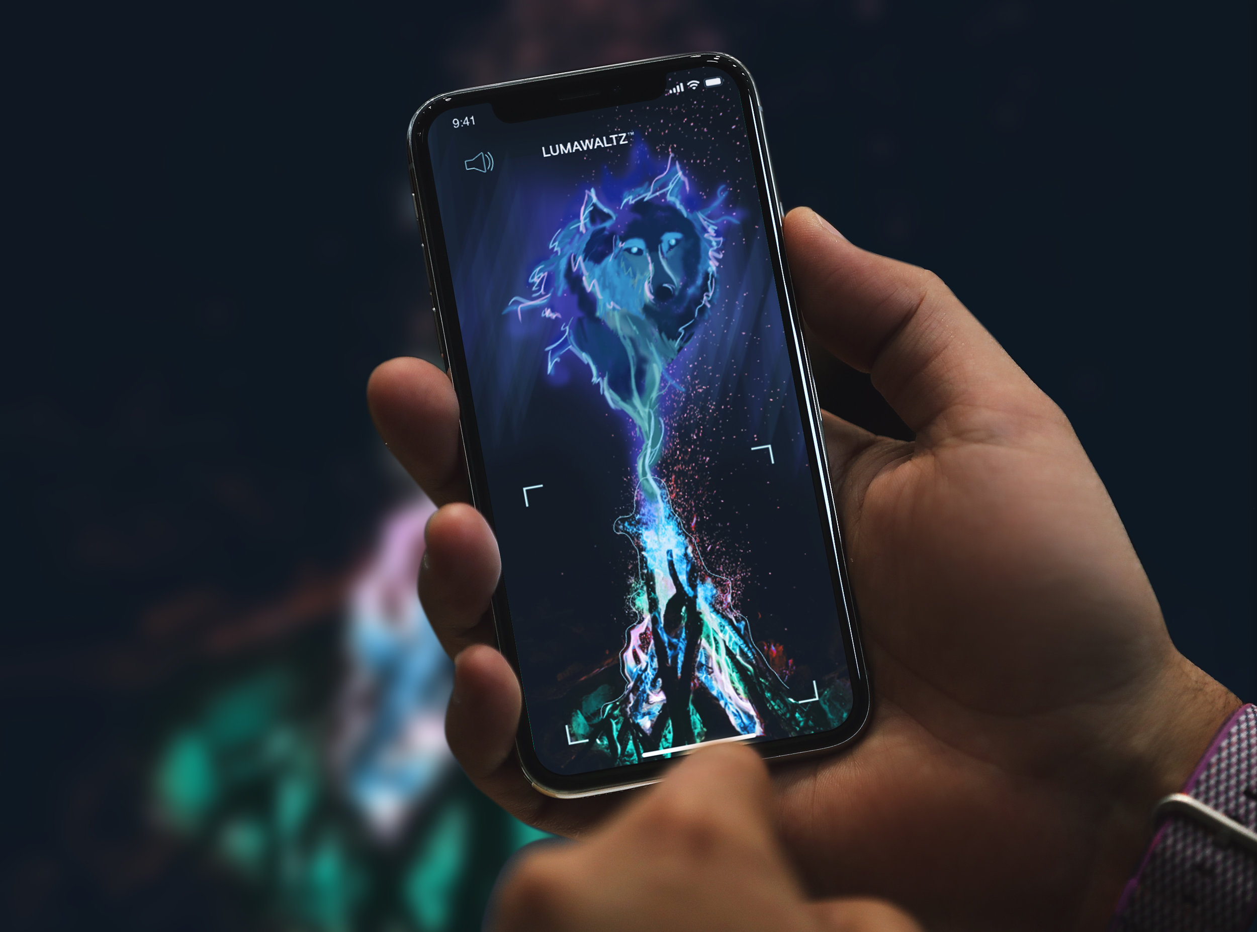 AR experience - When the consumer uses the LUMAWALTZ™ app to scan the colorful flames, an augmented reality feature displays an animated version of the legends of the Northern Lights narrated by the Athabascan people.