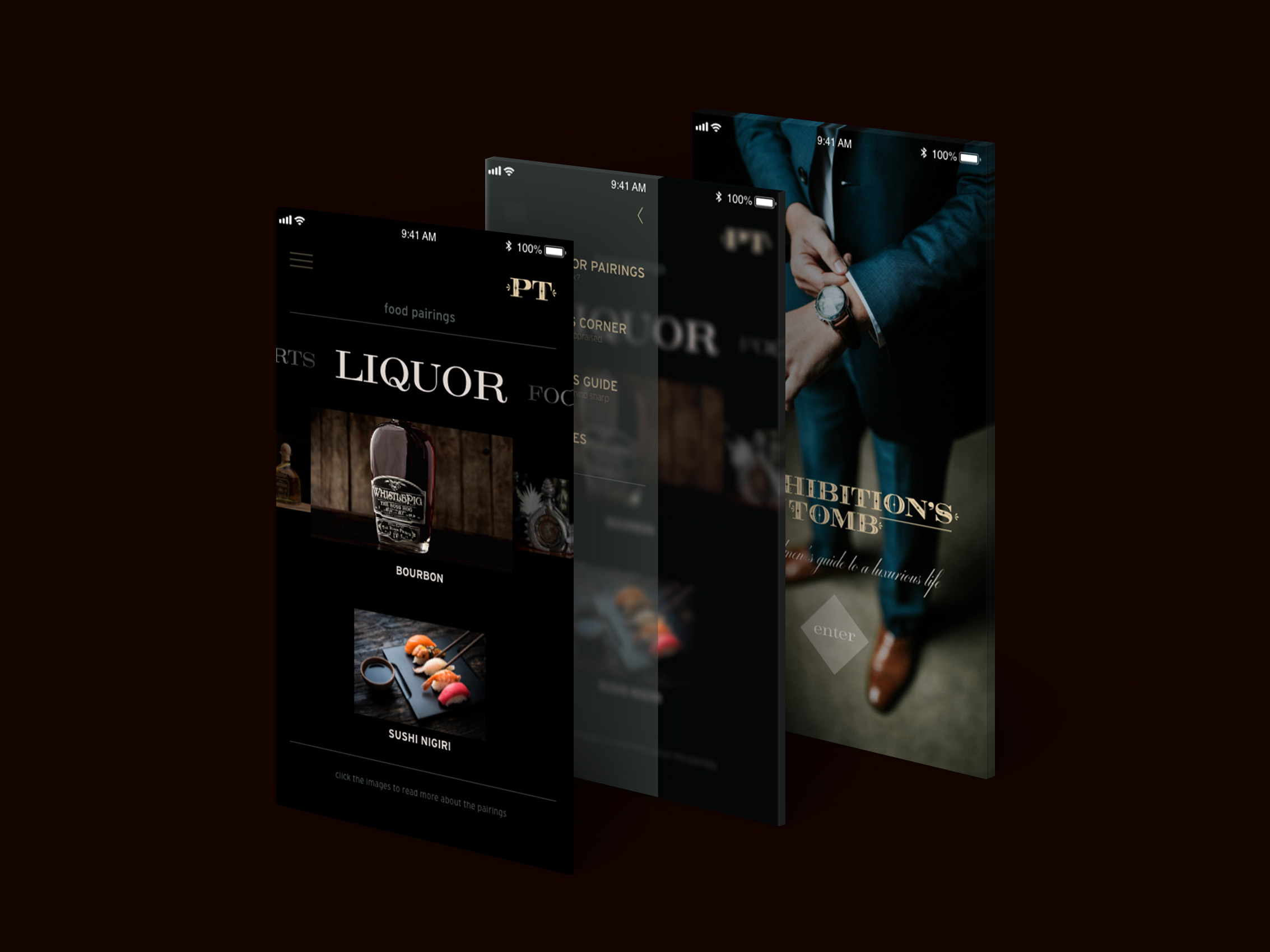 UI/UX   For the sophisticated gentleman on the go, we have created an application. Our application is designed to help the consumer pair different types of hard liquors with food options. It also feature's a gentleman's corner for current news and tips and tricks to leading a luxurious lifestyle.