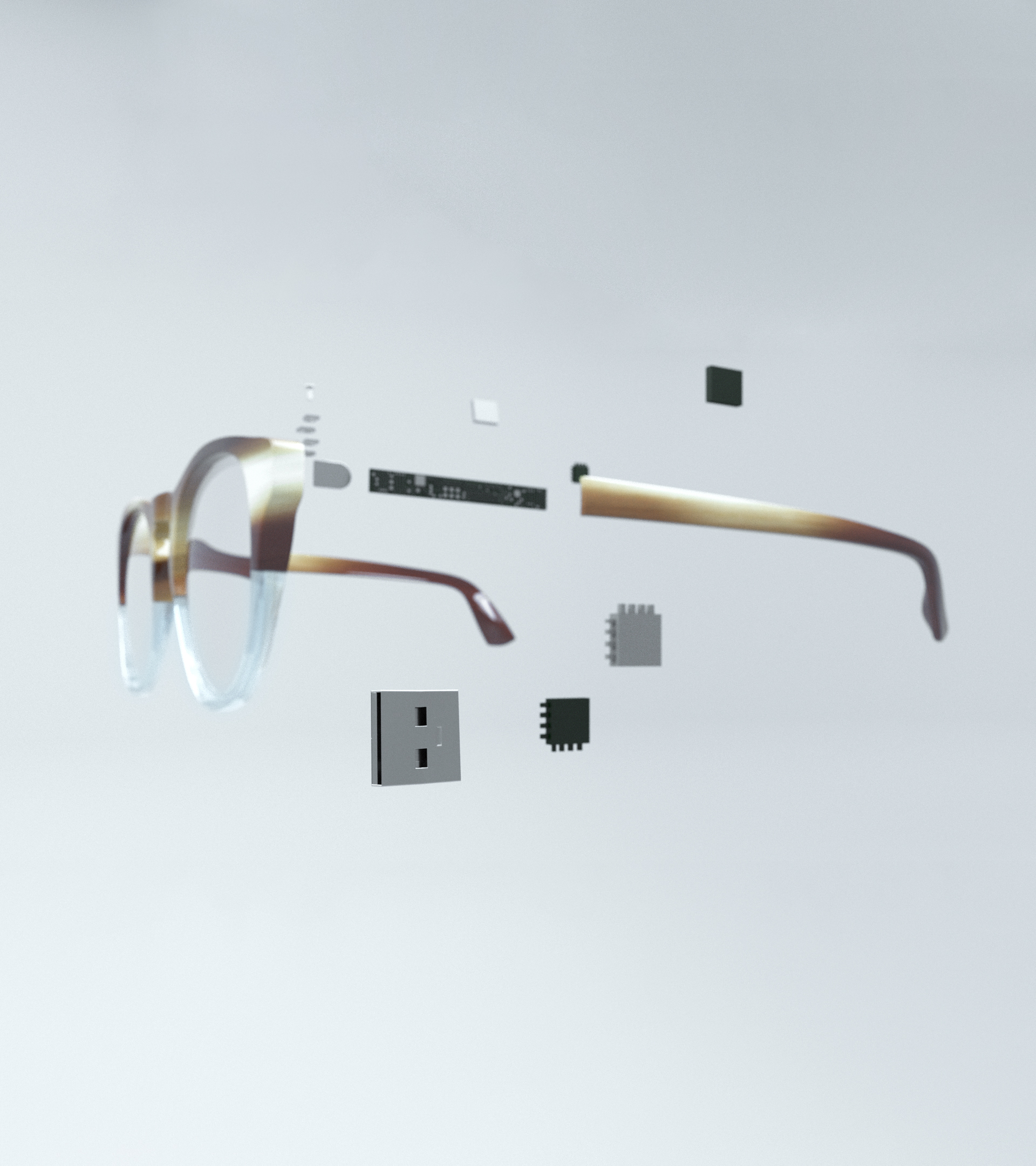 the final product design - Phantaglass was designed to fit seamlessly into everyday life. The glasses are meant to appear similar to everyday prescription frames. The EEG technology is embedded within the arm of the glasses keeping the technology discreet. The arms are also equipped with electrode nodes to send the mind's activity to the processing features of the device. These nodes, on the inner portion the arms, rest on the temples of the user.