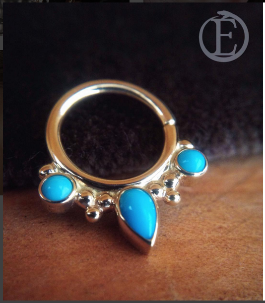 white gold with turquoise ring.
