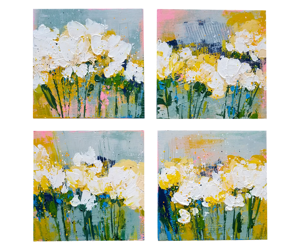 """Garden Bed"" series 1-4, acrylic on panel box. 6x6x2"""