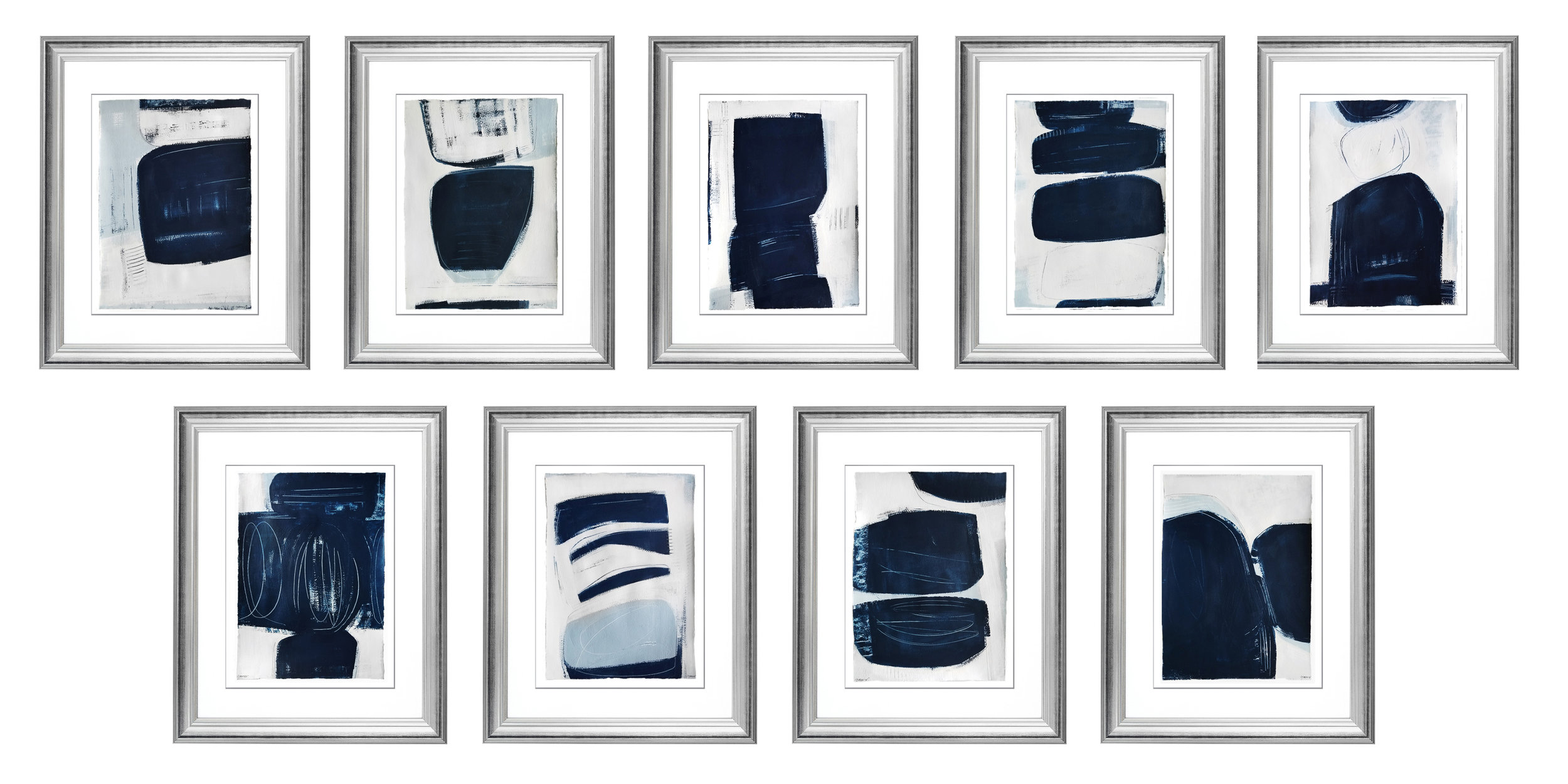 "Indigo ""INK"" Series, mixed media on paper. 13x18"" each."