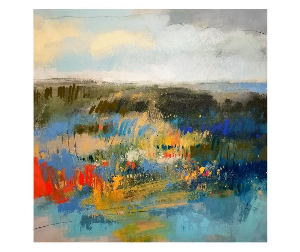 """Moors End I"" mixed media on canvas. 30x30"""