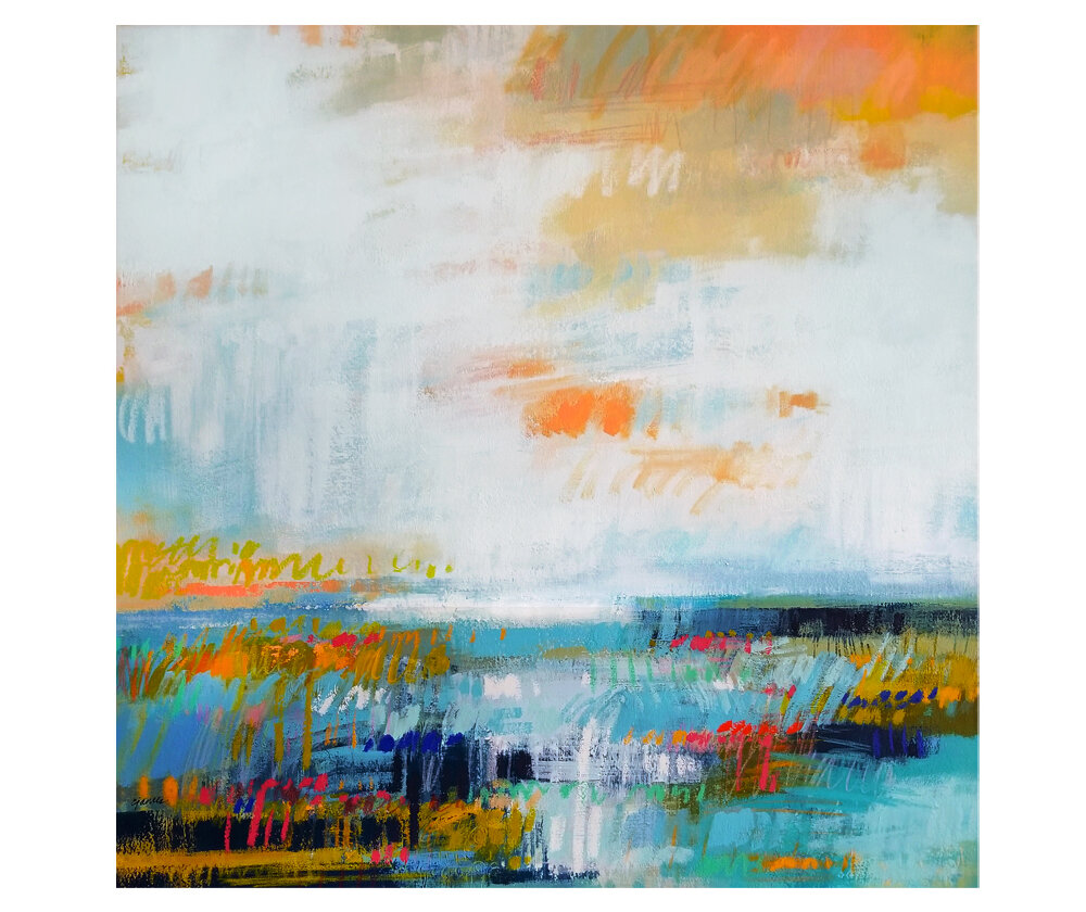 """Threshold"" mixed media on canvas. 30x30"""