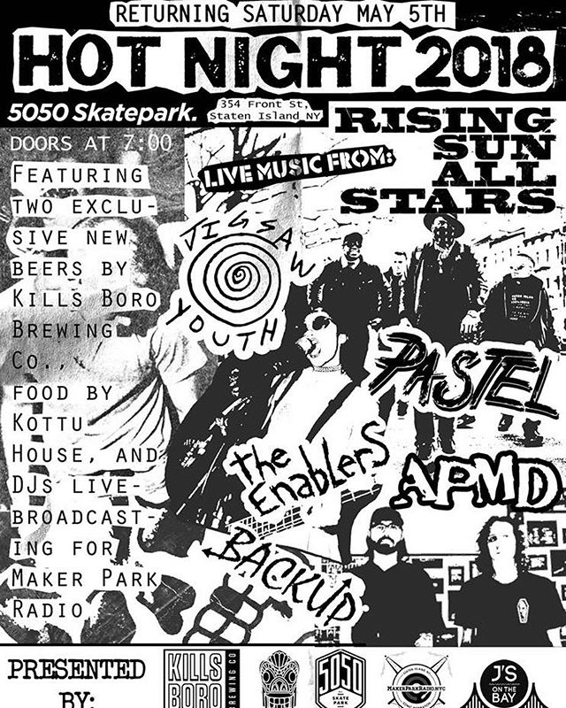 Big show this Saturday 5/5 @5050skatepark featuring @risingsunallstars @jigsawyouthband @ajpantaleo @pastelbandnyc @enablers_nyc punk rock flyer work by @jeremynieves