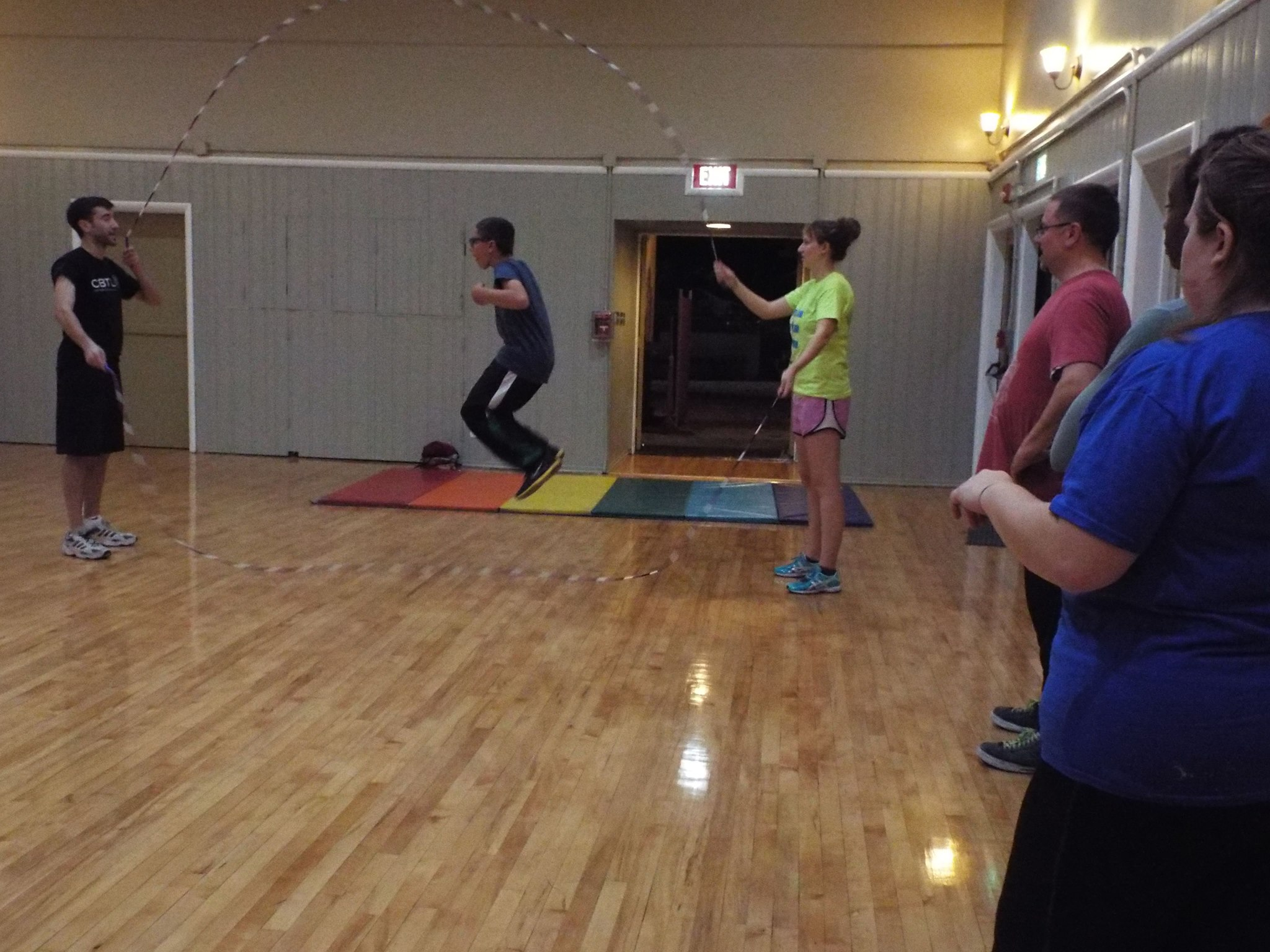 Teaching double dutch at a jump rope class in Hollywood.