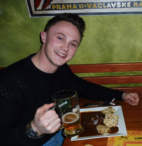 Greg enjoys the local beer.      Photograph: Alex Bertulis-Fernandes