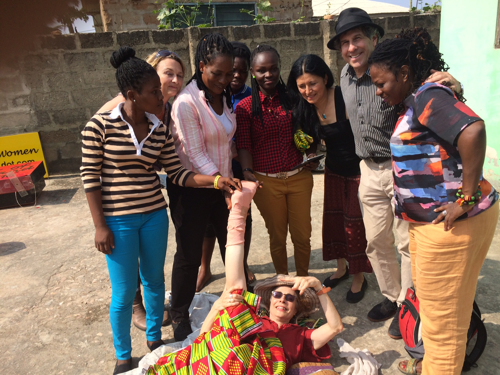From left: Ruth, Cari Ann, Eva, Eunice, Abigail, Valerie, Andy, Della, Wendy on ground Photo by Sulley Imoro