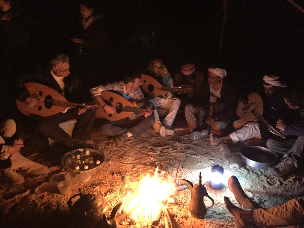 Evening jam with Yair Dalal (center with oud), Anad Maneizi and other musicians Photo By Andy Teirstein