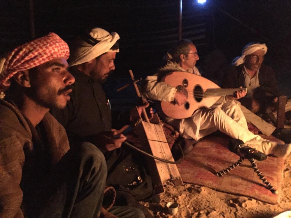 Saeed, Khaled Abu Hasan (Rebaba), Yair Dalal (Oud), and Anad Maneizi (sumsumia) Photo by Andy Teirstein