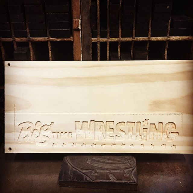 Today is mistakes were made masthead Monday. @letterpressrob has gotten really good at using the CNC machine to make some new plating for the shop but about once every couple of months does this. Round two tomorrow. #letterpress #mastheadmonday #cnc #flipit #wrestling #oops #shoplife #handmade