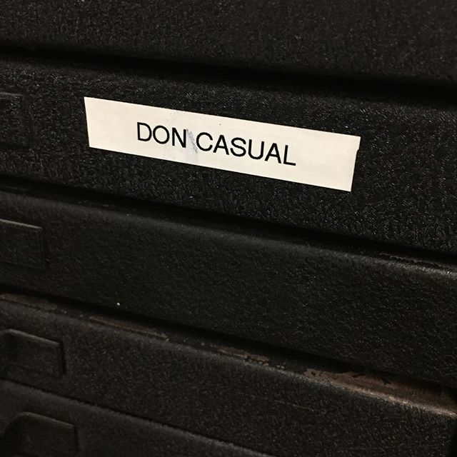 When your intern is labeling cases for you and almost hears what you say. #letterpress #domcasual #font #soclose #sorrydon
