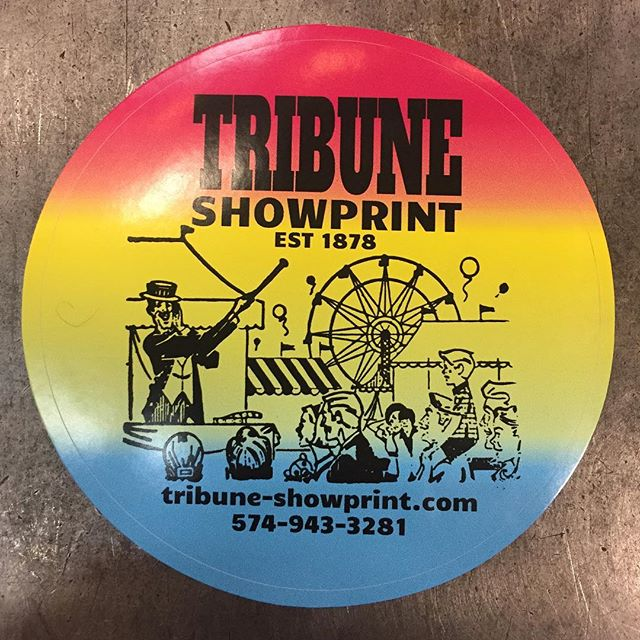 New vinyl stickers! Want a chance to get one? Come this weekend to Interrobang and buy one! Otherwise message us and we can get you set up. #letterpress #rainbow #stickers #carnival #fair #tribuneshowprint #vinyl #vinylstickers
