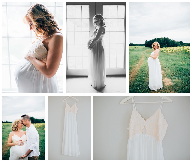 This gown fits up to a size large. The gorgeous lady wearing it in these photos was pregnant with twins! It can be worn for non-maternity and maternity. It was actually bought as a non-maternity gown!