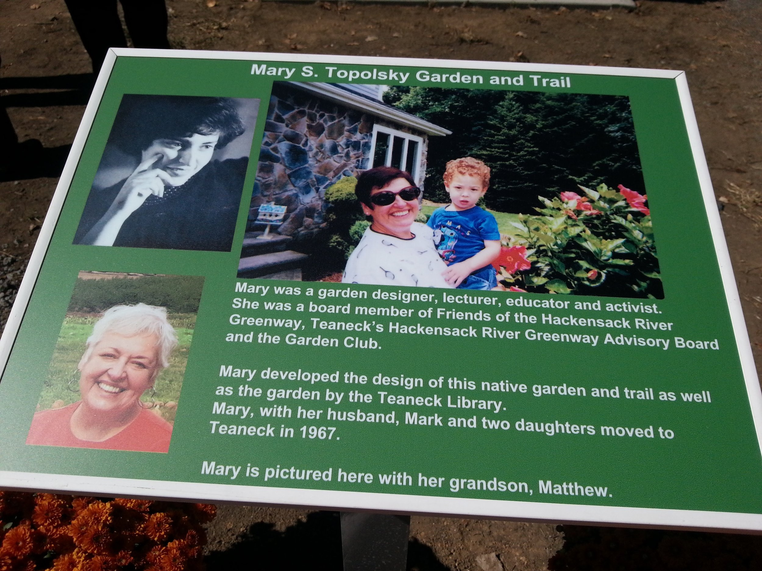 Biographical sign for Mary S. Topolsky