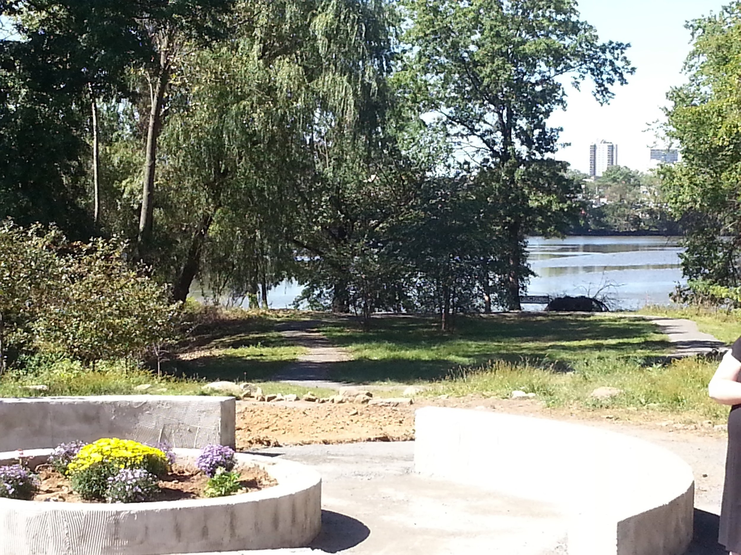 A view of the river from the sitting area