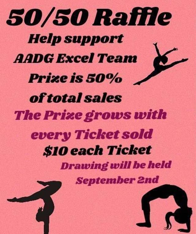 Who is ready to win BIG? 💰 Support our gym team by purchasing a raffle ticket and enter the chance to win more than $900! 🤑 💵 💰 #aadgmadera #xcel #gymnastics #fundraiser #raffle #money