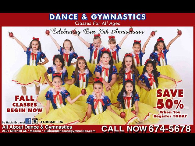 What are you waiting for?! Help us celebrate our 35th anniversary 🎉❤️ Register today for 50% off 😮 #aadgmadera #dance #gymnastics #madera