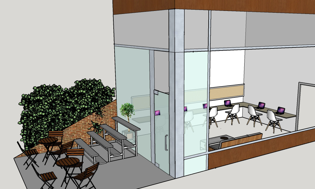 Rendering of potential interior/exterior of LikeMinds!
