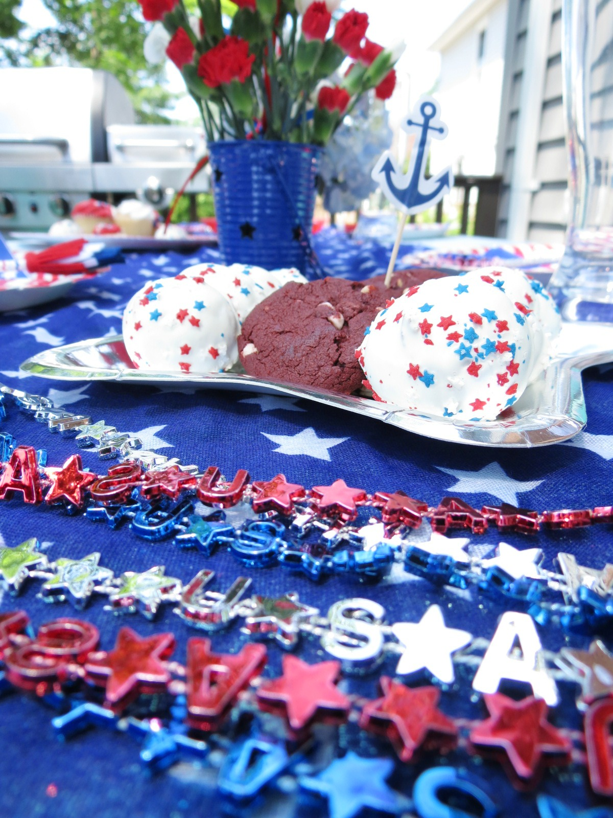 An EASY and affordable Fourth of July table featuring items from Target and the dollar tree! Check out the post for all the details.