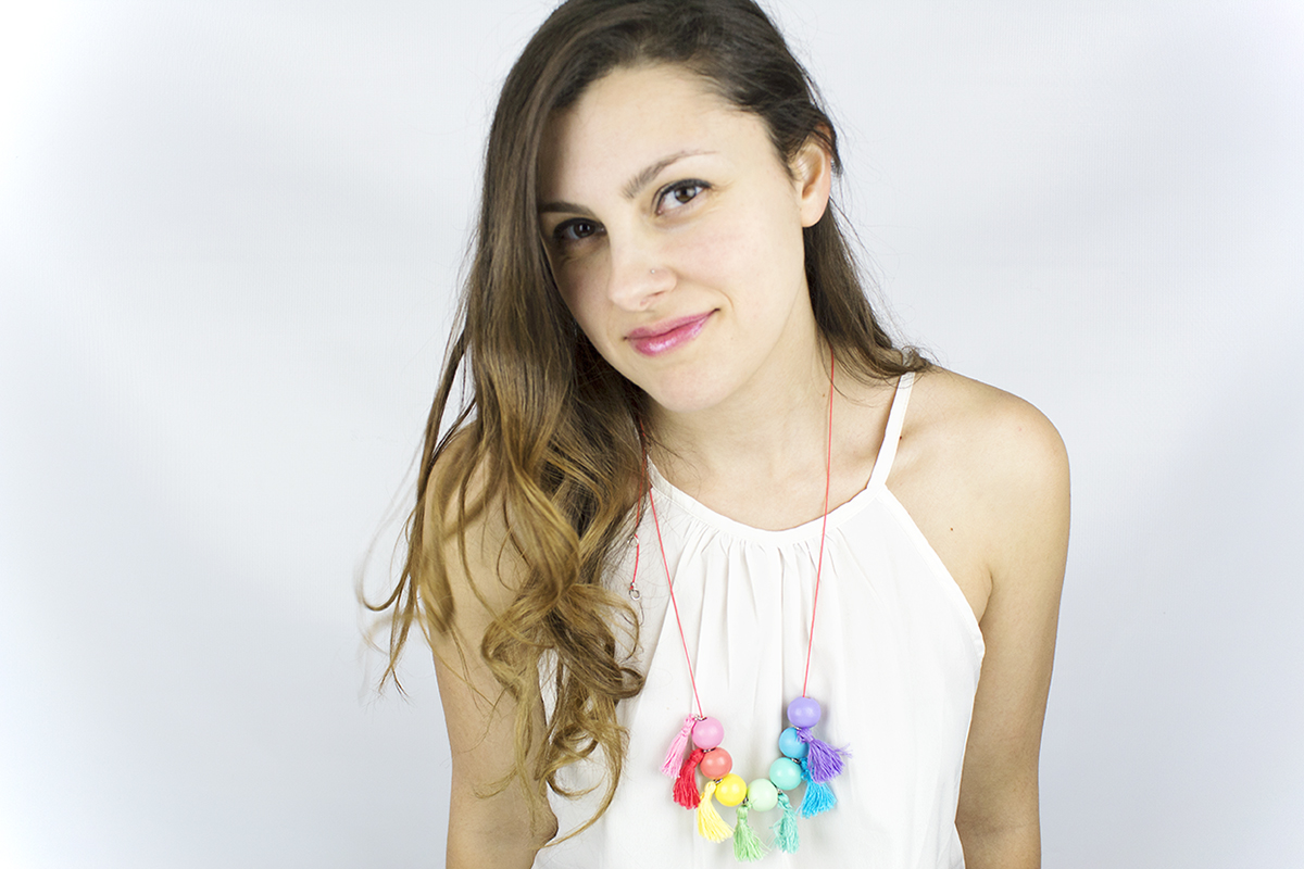 DIY Wood Bead Tassel Necklace