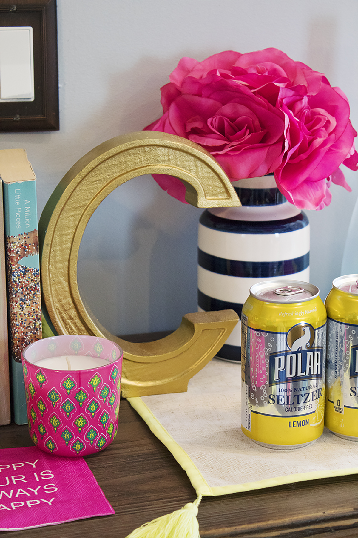 Add a pop of color to your bar decor! Click to see how I styled mine for everyday use.