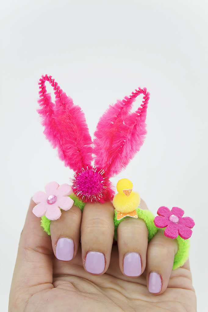 Looking for a unique Easter craft or Easter egg filler? You've gotta make these rings! They're super cute and affordable, and they only take a few minutes to make. Click to see how easy it is! #easter #easteregghunt #eastercrafts