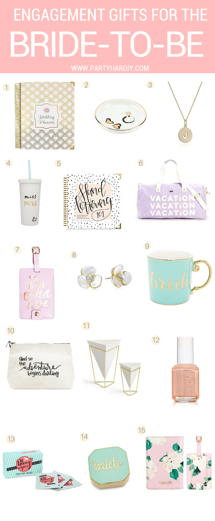 I've created a list of 15 awesome items that will make perfect engagement gift and even bridal shower gifts! They're all so classy and gorgeous. She's gonna love them! #engagementparty #engagementgifts #weddingplanning