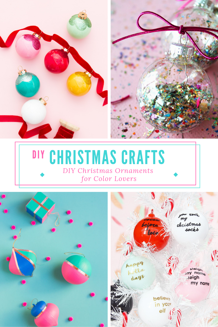 Ornaments are easily the best part of any tree. We know there are so many cool ornaments you can buy, but over in these parts, we like things you can make! I've rounded up the best colorful ornament DIY's so that your tree can be as vibrant and fun as you are. Click to see all the ornaments. #christmasornaments #christmascrafts #diyornaments