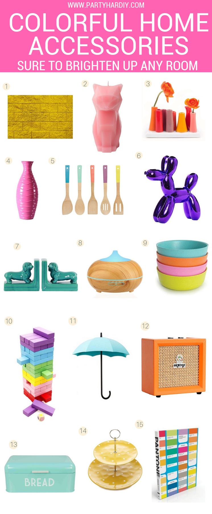 I've rounded up some colorful but whimsical home finds that are sure to brighten up even the most monochromatic home. Click for the full list!