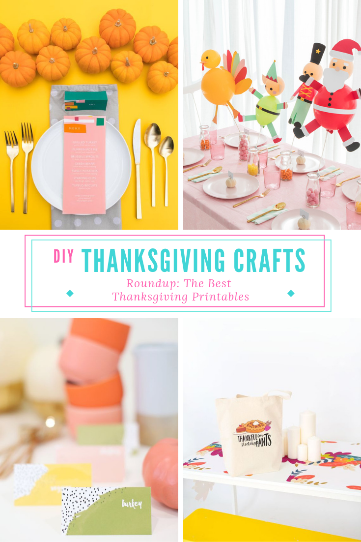 Since there isn't tons of time left for setup, I wanted to create a roundup of the very best, most colorful printables and paper crafts for your Thanksgiving or Friendsgiving dinner. These are quickly and easy to create- most projects require only a printer, or items you're likely to have on-hand! #thanksgivingcrafts #thanksgivingdecorations #thanksgivingprintables