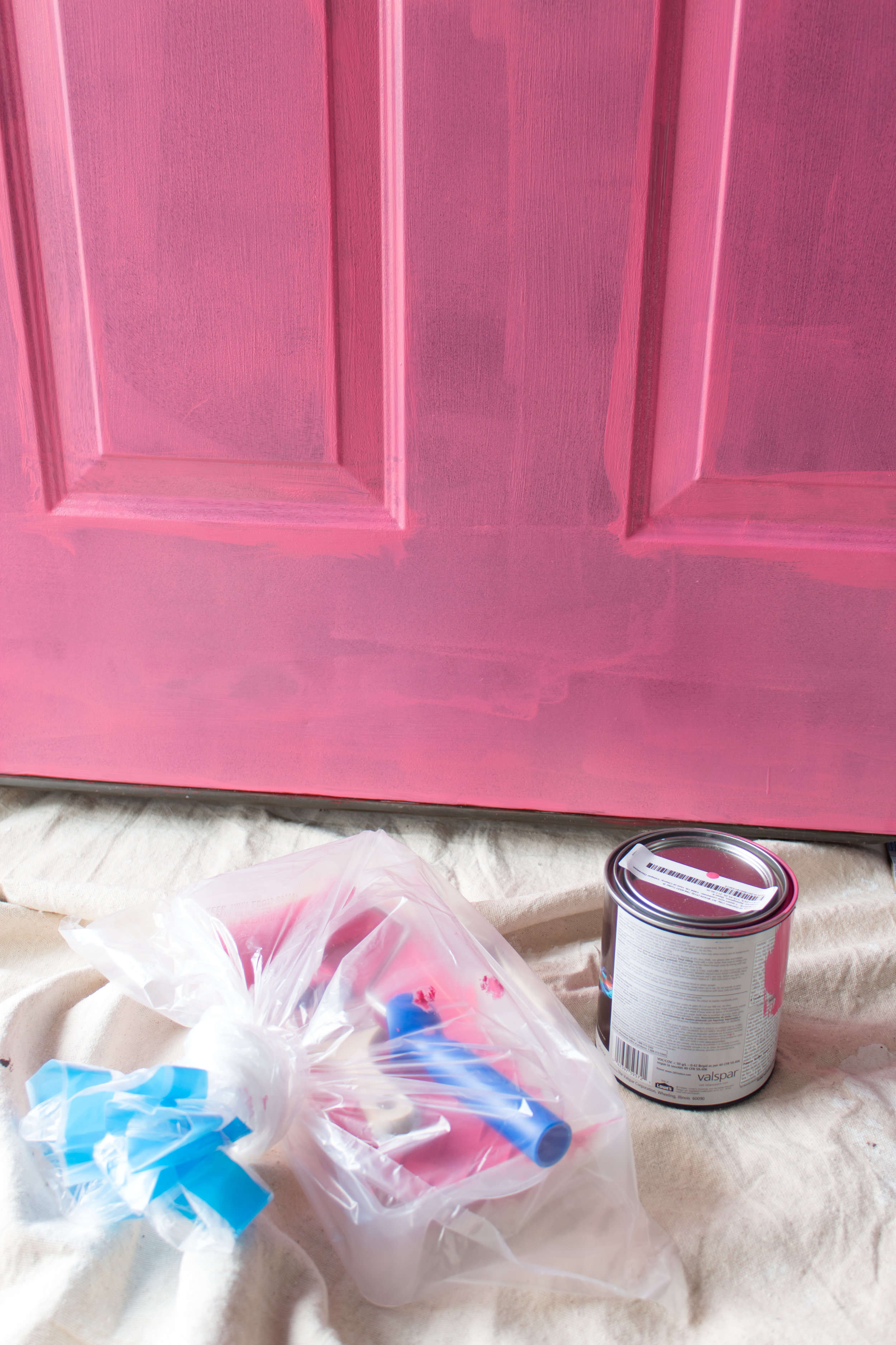 On Wednesday's we paint our door pink!! With the help of FrogTape, I was able to paint my door without having to remove the hardware. It was easy peasy lemon squeezy, and left such crisp clean lines! Head to the blog for all the details so you can give your front door a facelift for spring! #frontdoormakeover #frontdoorcolors #pinkdoor