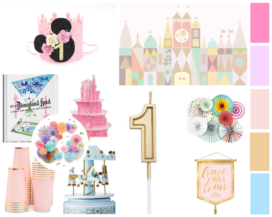 Looking for a fun birthday party theme? How about a vintage Disney World or Disneyland theme party?! Everyone loves Disney and with this party, you get to bring the magical parks to you. Click for the party plan, plus links to these items! #disneylandparty #disneyworldparty #firstbirthdaytheme