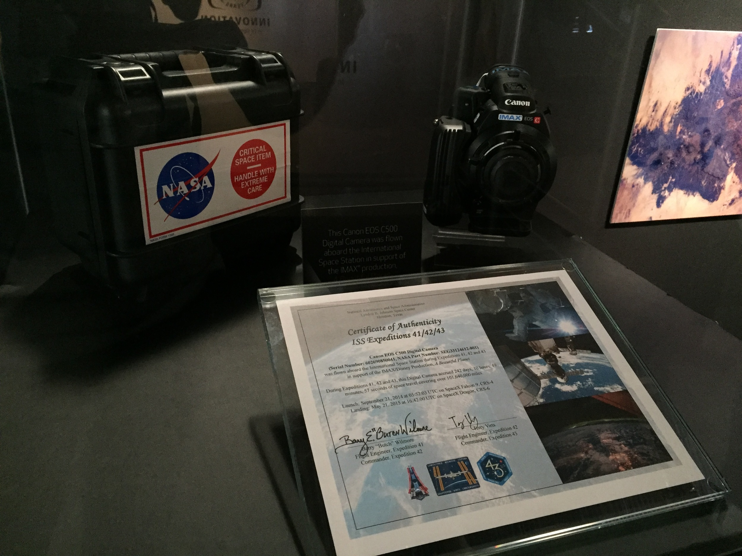 NASA's Canon C500 camera that was used in space for  A Beautiful Planet