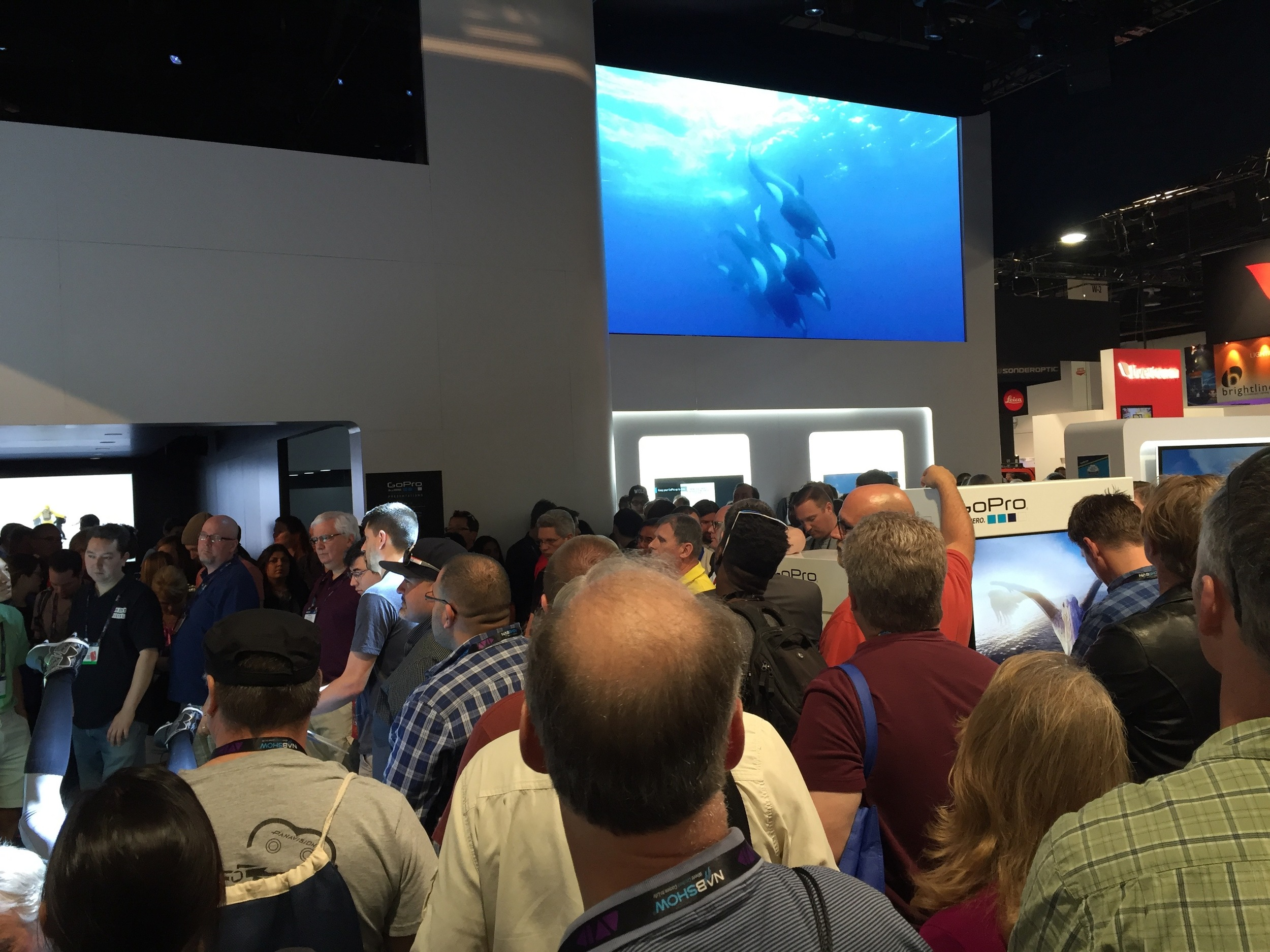Crowds pile in as GoPro gets ready to raffle off free giveaways.