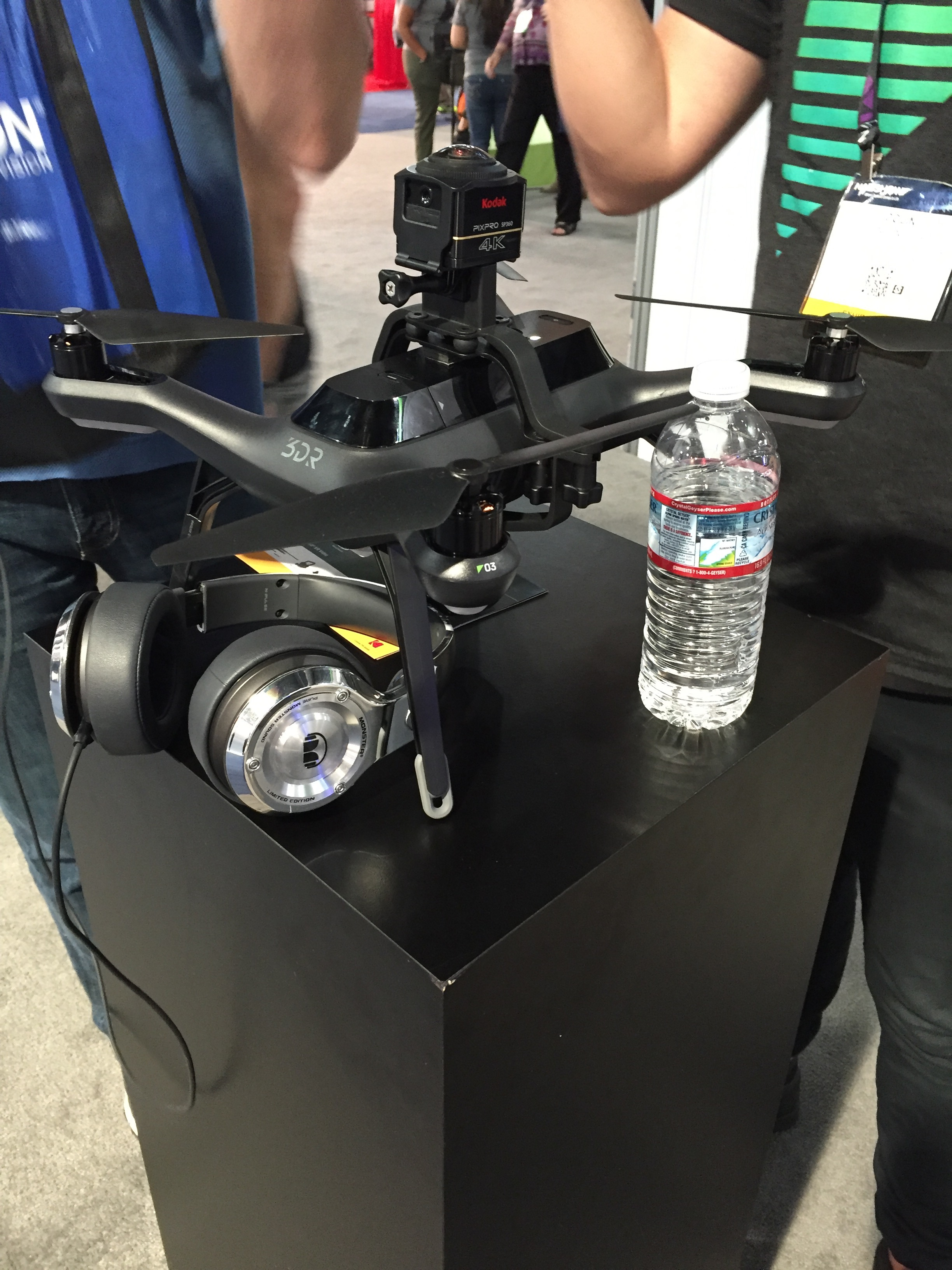 3DR drone with Kodak PixPro 360 cameras attached to top and bottom.
