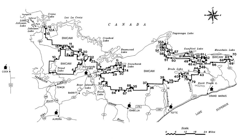 Boundary Waters Canoe Area Wilderness Entry Points