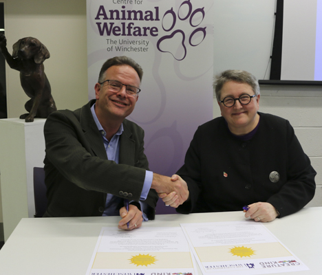 CreatureKind Founder, David Clough, with Professor Elizabeth Stuart, Deputy Vice-Chancellor of the University of Winchester. The University of Winchester was the first institution to sign the CreatureKind Commitment.