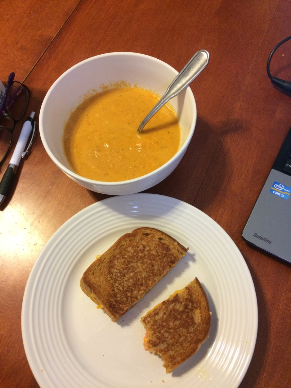 tomato bisque and grilled cheese