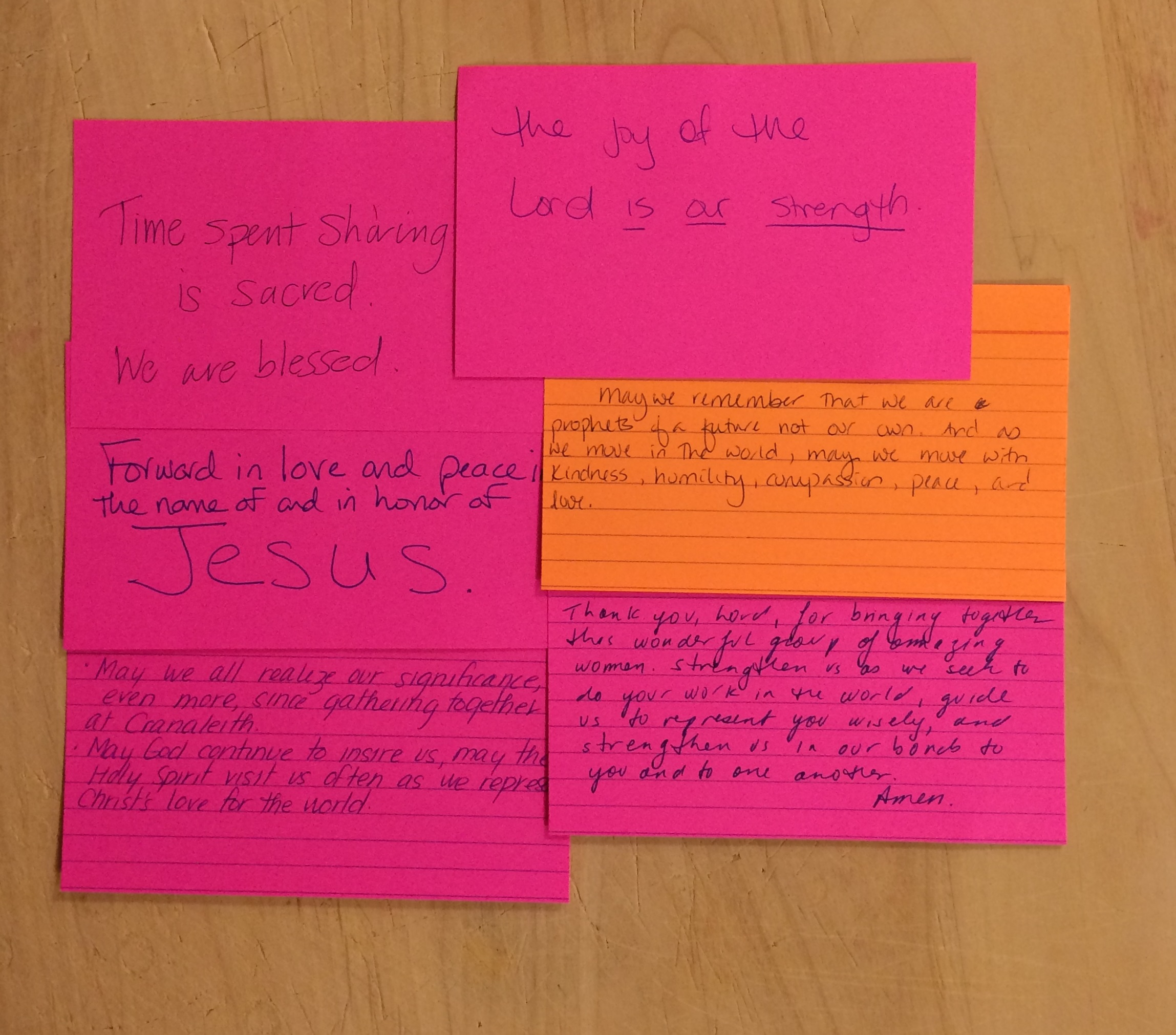 "Some of the prayers and words of encouragement offered by retreat participants for the retreat group. One participant described the experience as ""healing and inspiring."""